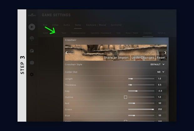 change crosshair csgo in game options - edit crosshair settings