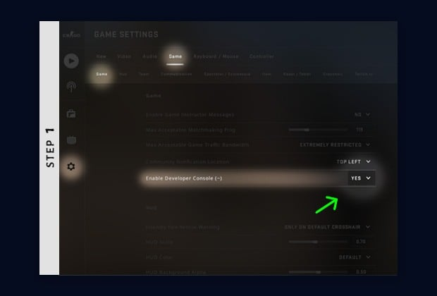 enable developer console to show fps